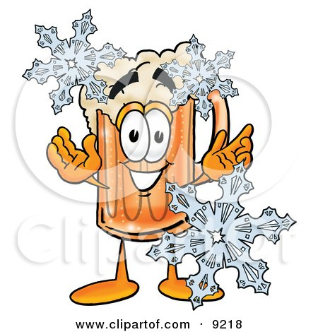 Clipart Picture of a Beer Mug Mascot Cartoon Character With Three Snowflakes in Winter by Toons4Biz