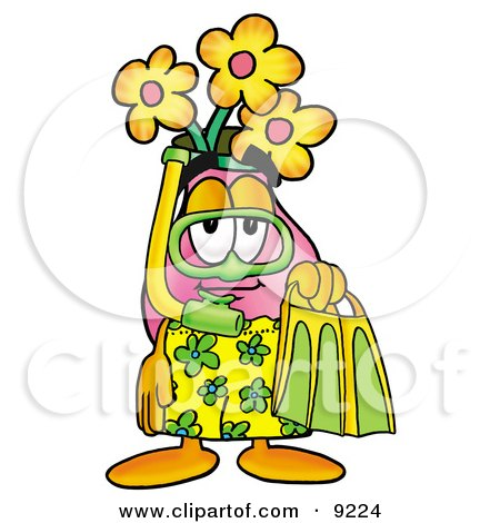 Clipart Picture of a Vase of Flowers Mascot Cartoon Character in Green and Yellow Snorkel Gear by Toons4Biz