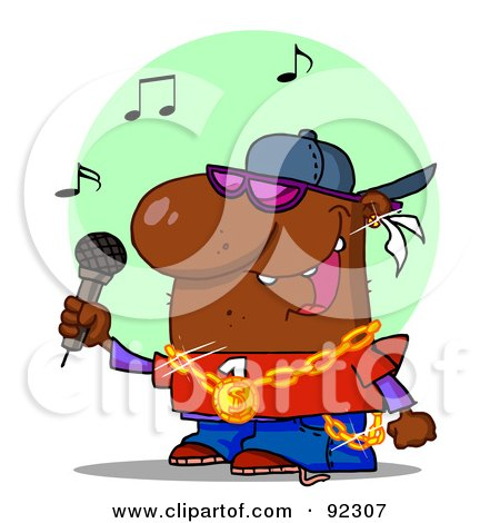 Royalty-Free (RF) Clipart Illustration of an African American Rapper Dude Singing by Hit Toon