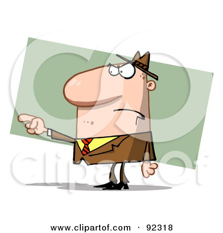 Royalty-Free (RF) Clipart Illustration of a Caucasian Guy Pointing The Blame by Hit Toon