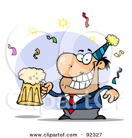 Royalty-Free (RF) Clipart Illustration of a Drunk New Years Guy Holding Beer by Hit Toon