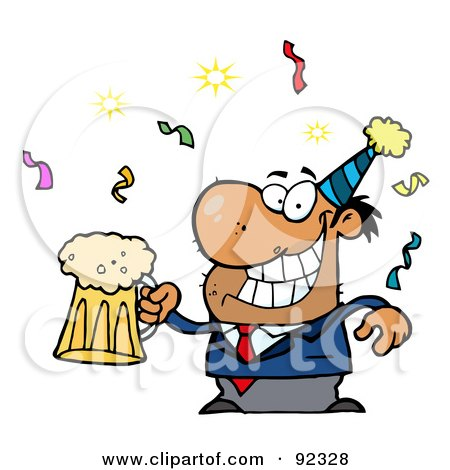 Royalty-Free (RF) Clipart Illustration of a Drunk New Years Party Guy Holding Beer by Hit Toon