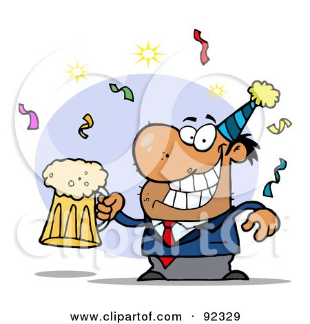 Royalty-Free (RF) Clipart Illustration of a Drunk New Years Party Man Holding Beer by Hit Toon