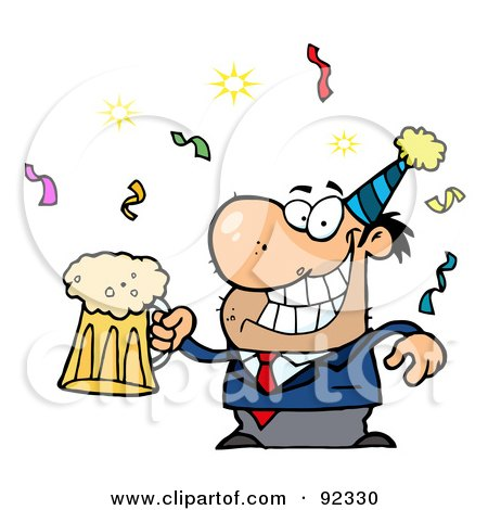 Royalty-Free (RF) Clipart Illustration of a Drunk New Years Man Holding Beer by Hit Toon