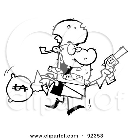 Royalty-Free (RF) Clipart Illustration of an Outlined Outlaw Cowboy Running With A Pistol And Sack Of Money by Hit Toon