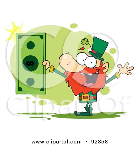 Royalty-Free (RF) Clipart Illustration of a Rich Leprechaun Holding A Dollar Bill by Hit Toon