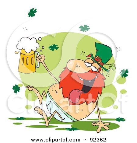 Tipsy Leprechaun In His Underwear, Holding  Up A Beer Posters, Art Prints
