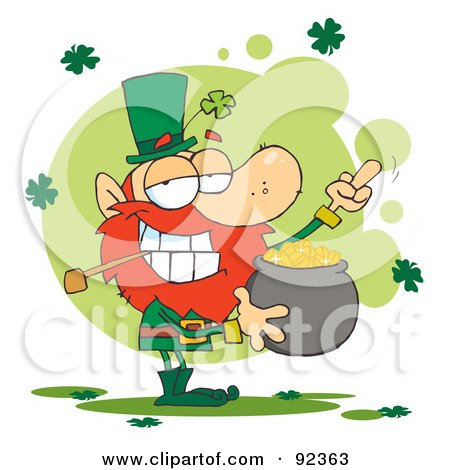 Royalty-Free (RF) Clipart Illustration of a Leprechaun Holding A Pot Of Gold And Flipping His Middle Finger by Hit Toon