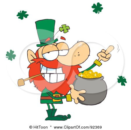 Leprechaun Holding Up His Middle Finger Of A Pot Of Gold Posters, Art Prints