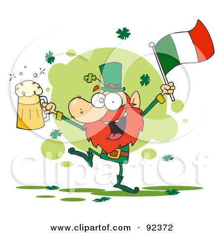 Royalty-Free (RF) Clipart Illustration of a Dancing Drunk Leprechuan With Beer And A Flag by Hit Toon