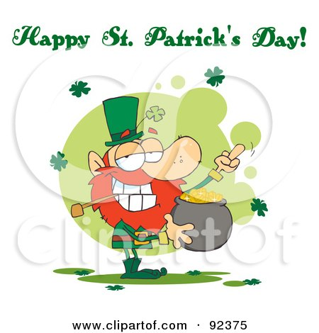 Happy St Patrick's Day Greeting Of A Leprechaun Holding Up His Middle Finger Of A Pot Of Gold Posters, Art Prints