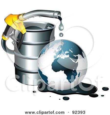 Nozzle Dripping Over A Globe In An Oil Spill By A Barrel Posters, Art Prints