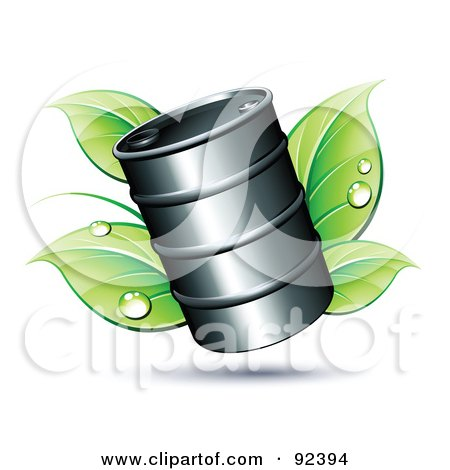 Oil Barrel Over Dewy Green Leaves Posters, Art Prints