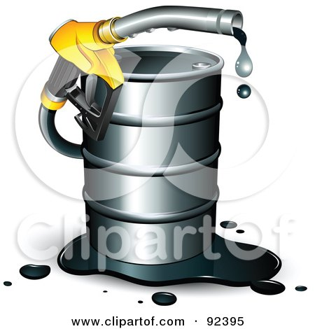Royalty-Free (RF) Clipart Illustration of a Dripping Gasoline Nozzle Emerging From A Barrel Of Fuel by beboy