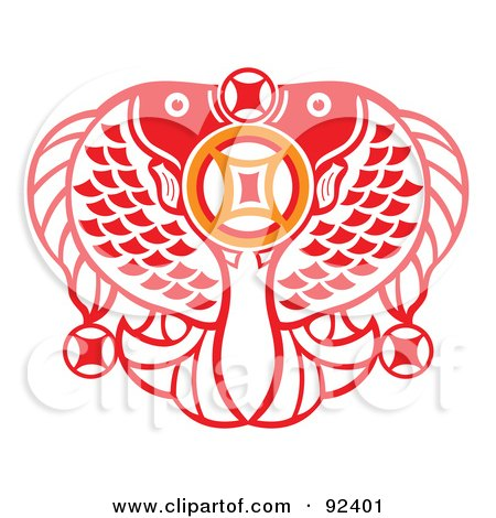 Royalty-Free (RF) Clipart Illustration of a Red Chinese Double Fish Prosperous Symbol by Cherie Reve