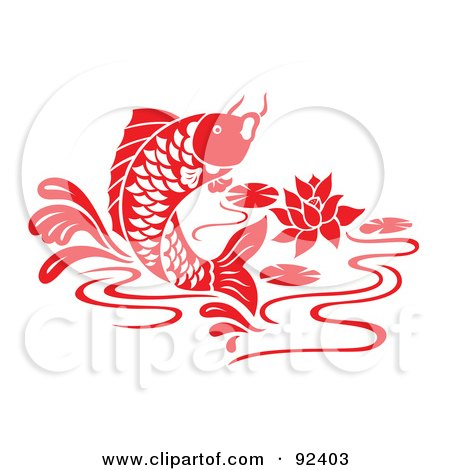 Royalty-Free (RF) Clipart Illustration of a Red Chinese Styled Koi Fish Jumping In A Lily Pond by Cherie Reve