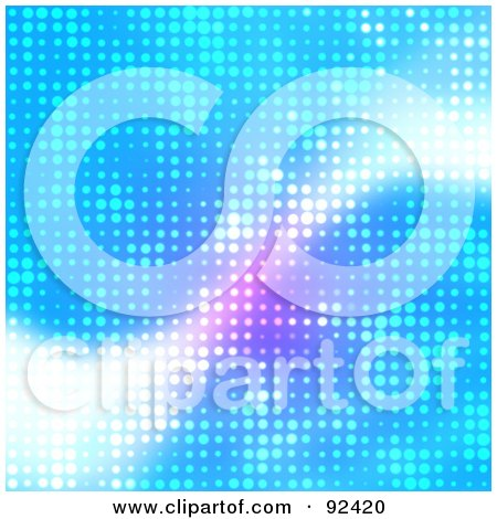 Royalty-Free (RF) Clipart Illustration of a Bright Blue Halftone Background With A White Swoosh by Arena Creative