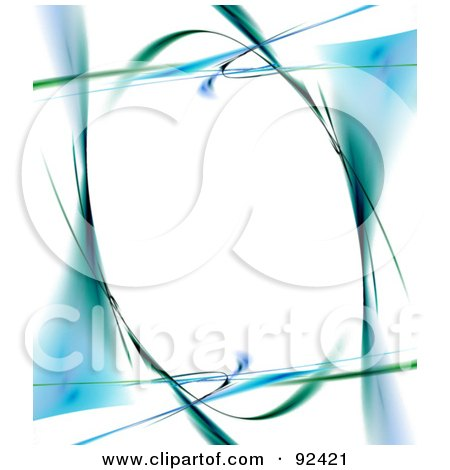 Royalty-Free (RF) Clipart Illustration of an Oval Frame Of Blue And Green Over White  by Arena Creative