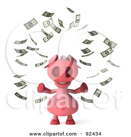 Royalty-Free (RF) Clipart Illustration of a 3d Pookie Pig Character Surrounded By Money - 1 by Julos