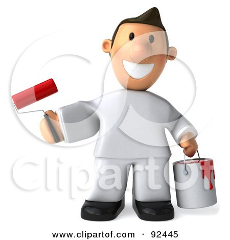 3d Toon Guy House Painter Holding A Can And Brush, Facing Front Posters, Art Prints