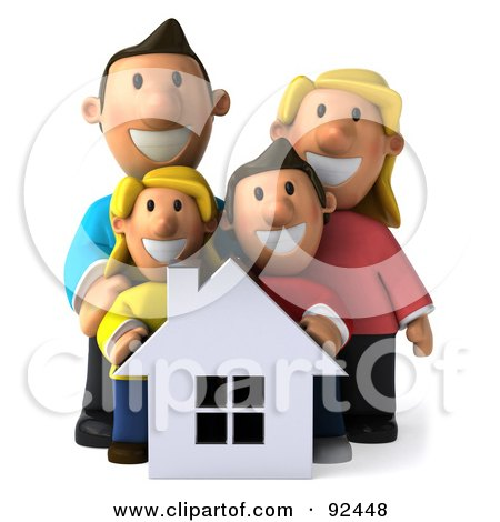 Royalty-Free (RF) Clipart Illustration of a 3d Happy Caucasian Family With A House - 2 by Julos