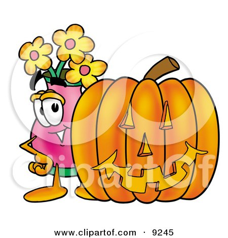 Clipart Picture of a Vase of Flowers Mascot Cartoon Character With a Carved Halloween Pumpkin by Toons4Biz