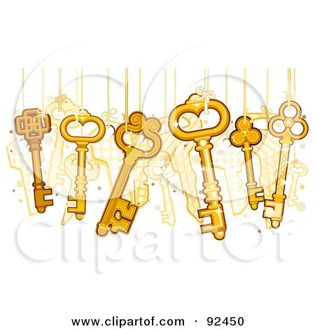 Royalty-Free (RF) Clipart Illustration of Gold Skeleton Keys Hanging From Strings by BNP Design Studio