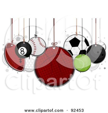 Royalty-Free (RF) Clipart Illustration of Sports Balls Hanging From Strings by BNP Design Studio