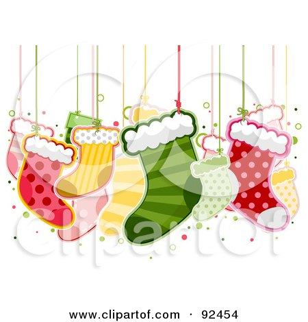 Royalty-Free (RF) Clipart Illustration of Christmas Stockings Hanging From Strings by BNP Design Studio
