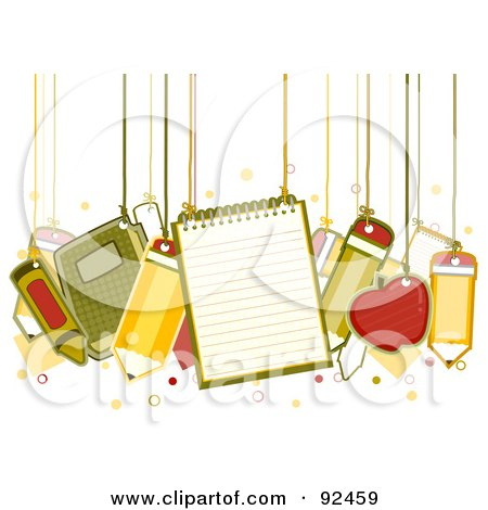 Royalty-Free (RF) Clipart Illustration of School Items Hanging From Strings by BNP Design Studio