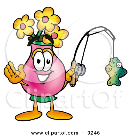 Clipart Picture of a Vase of Flowers Mascot Cartoon Character Holding a Fish on a Fishing Pole by Toons4Biz