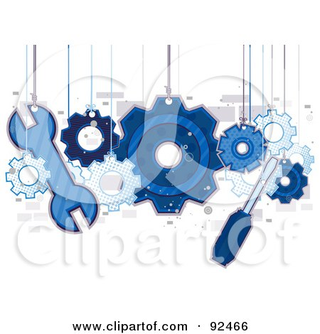 Blue Tools And Gears Hanging From Strings Posters, Art Prints