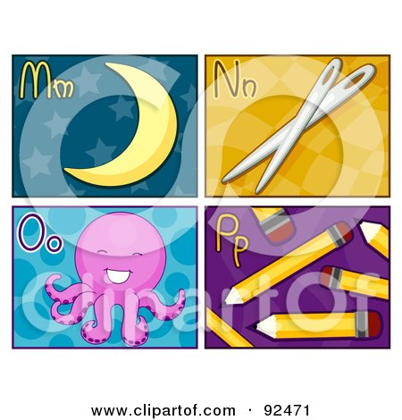 Royalty-Free (RF) Clipart Illustration of a Digital Collage Of M, N, O, And P Letter Flashcards With The Moon, Needles, Octopus And Pencils by BNP Design Studio