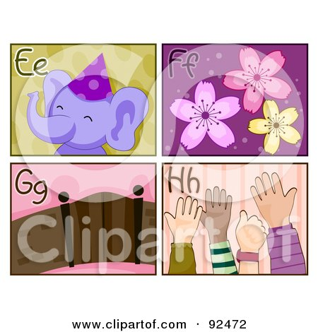 Royalty-Free (RF) Clipart Illustration of a Digital Collage Of E, F, G, And H Letter Flashcards With An Elephant, Flowers, Gate And Hands by BNP Design Studio