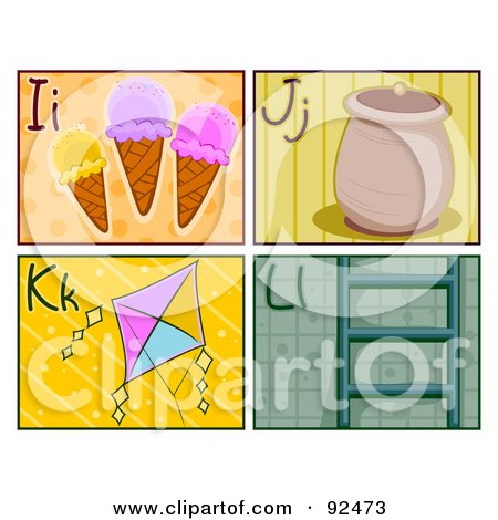 Digital Collage Of I, J, K And L Letter Flashcards With Ice Cream, A Jar, Kite And Ladder Posters, Art Prints