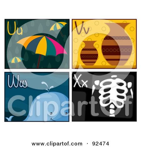 Royalty-Free (RF) Clipart Illustration of a Digital Collage Of U, V, W, And X Letter Flashcards With Umbrellas, Vases, A Whale And Xray by BNP Design Studio