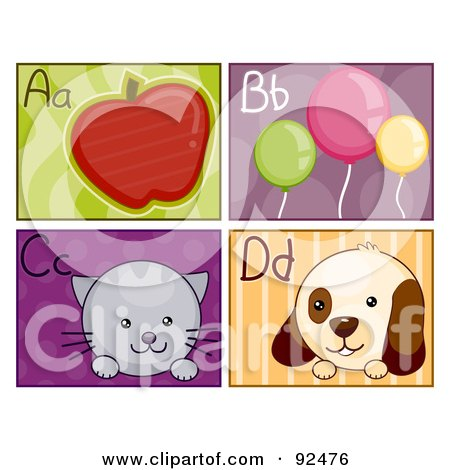 Royalty-Free (RF) Clipart Illustration of a Digital Collage Of A, B, C And D Letter Flashcards With An Apple, Balloons, Cat And Dog by BNP Design Studio