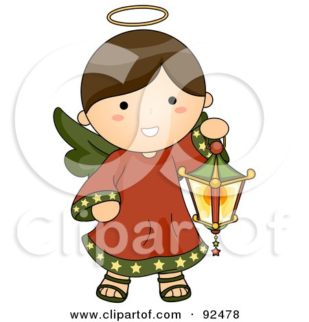 Royalty-Free (RF) Clipart Illustration of a Cute Brunette Christmas Angel Carrying A Lantern by BNP Design Studio