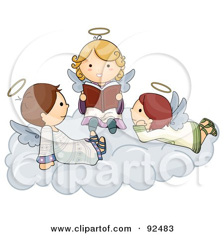 Royalty-Free (RF) Clipart Illustration of Three Cute Cute Angels Reading On A Cloud by BNP Design Studio