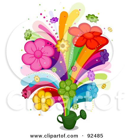 Floral Rainbow Bursting From A Watering Can Posters, Art Prints