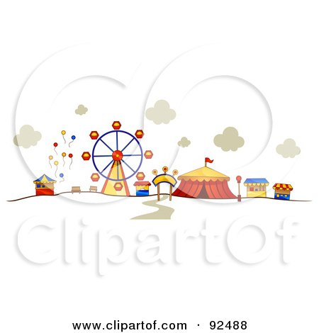 Royalty-Free (RF) Clipart Illustration of a Ferris Wheel And Circus Tent At A Carnival by BNP Design Studio