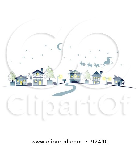 Royalty-Free (RF) Clipart Illustration of a Road Leading To Santa Over A Village by BNP Design Studio