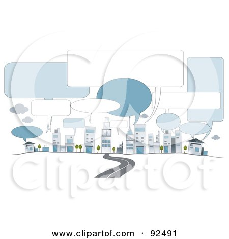 Royalty-Free (RF) Clipart Illustration of a Road Leading To City Buildings With Speech Balloons by BNP Design Studio