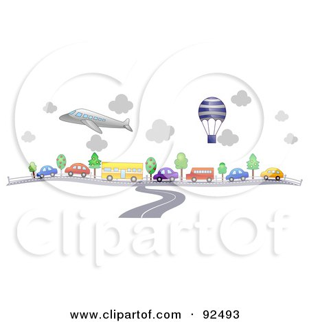 Royalty-Free (RF) Clipart Illustration of a Road Merging Into Traffic Under A Balloon And Plane by BNP Design Studio