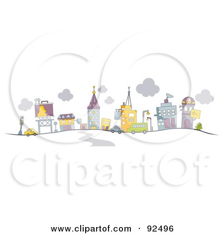 Royalty-Free (RF) Clipart Illustration of a Road Leading To A Busy City by BNP Design Studio