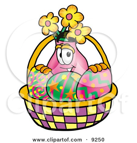 Clipart Picture of a Vase of Flowers Mascot Cartoon Character in an Easter Basket Full of Decorated Easter Eggs by Toons4Biz