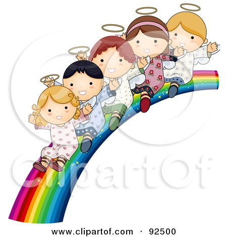 Royalty-Free (RF) Clipart Illustration of a Group Of Cute Angels Waving And Riding Down A Rainbow Slide by BNP Design Studio