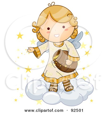Royalty-Free (RF) Clipart Illustration of a Cute Blond Angel On A Cloud, Putting Stars In The Sky by BNP Design Studio
