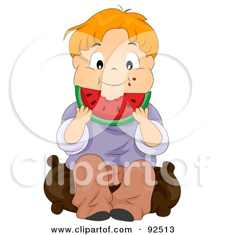 Royalty-Free (RF) Clipart Illustration of a Red Haired Boy Munching On Watermelon by BNP Design Studio