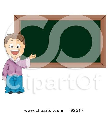 Royalty-Free (RF) Clipart Illustration of a Smart School Boy Presenting By A Blank Chalk Board by BNP Design Studio